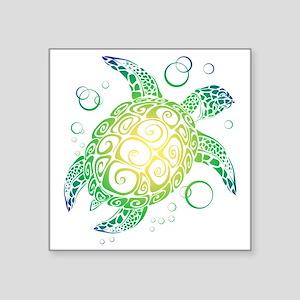 Hawaiian Sea Turtle Tattoo Square Stickers Cafepress