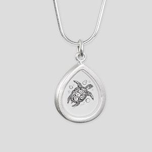 Sea Turtle Silver Teardrop Necklace
