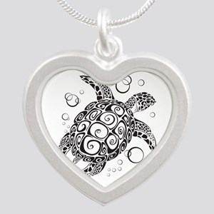 Sea Turtle Silver Heart Necklace