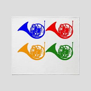 French Horn Pop Art Throw Blanket