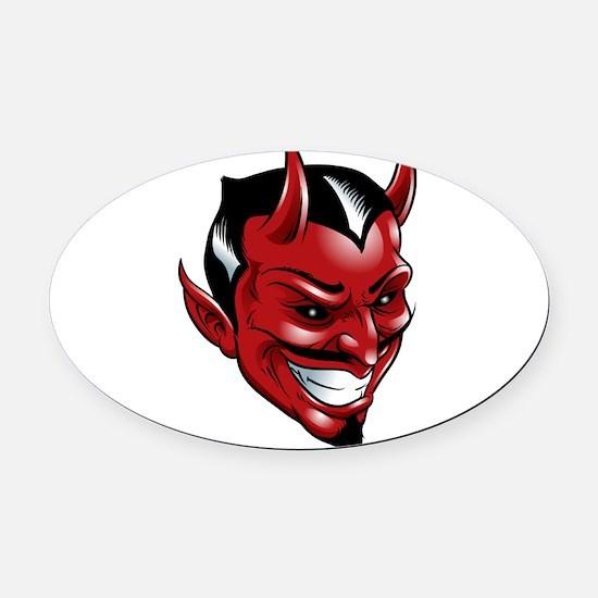 Devil Red Oval Car Magnet