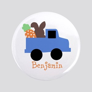 """Easter time truck personalized 3.5"""" Button"""