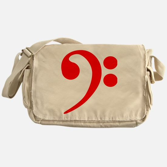 Red Bass Clef Messenger Bag