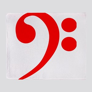 Red Bass Clef Throw Blanket