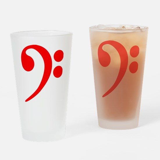 Red Bass Clef Drinking Glass