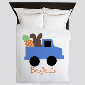 Easter time truck personalized Queen Duvet