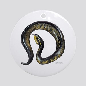 Cottonmouth Snake Ornament (Round)