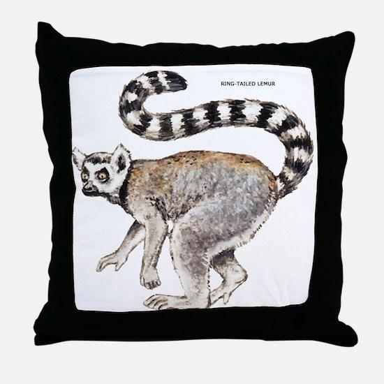 Ring-Tailed Lemur Throw Pillow