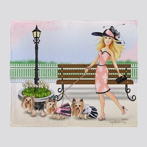 ByCatiaCho Yorkie Derby Throw Blanket
