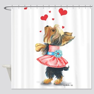ByCatiaCho Yorkie Love Shower Curtain