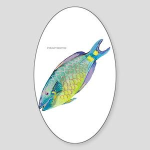 Stoplight Parrotfish Sticker (Oval)