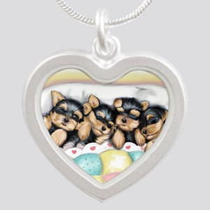 ByCatiaCho Sleeping Babies Silver Heart Necklace