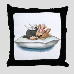 ByCatiaCho Yorkie Tink Throw Pillow