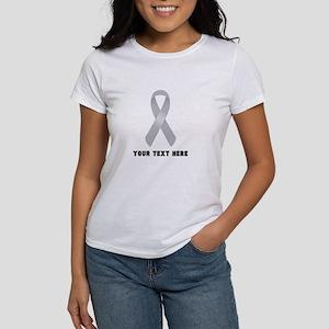 Gray Awareness Ribbo Women's Classic White T-Shirt