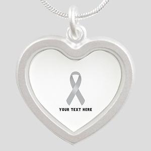 Gray Awareness Ribbon Custom Silver Heart Necklace