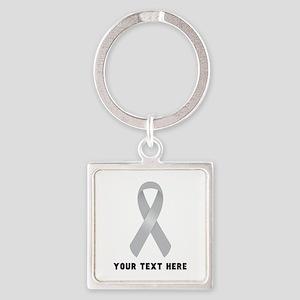 Gray Awareness Ribbon Customized Square Keychain