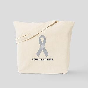 Gray Awareness Ribbon Customized Tote Bag