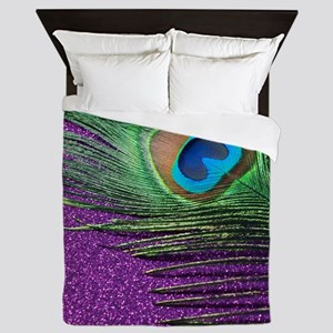Glittery Purple Peacock Queen Duvet