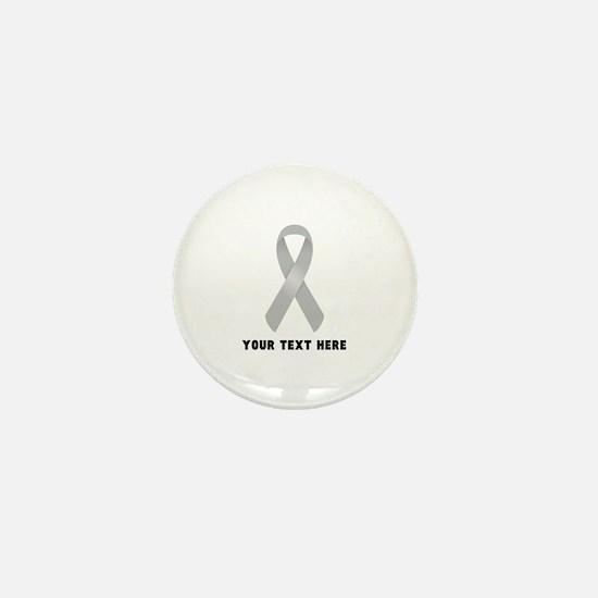 Gray Awareness Ribbon Customized Mini Button