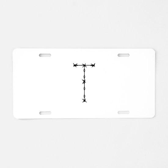 Barbed Wire Monogram T Aluminum License Plate