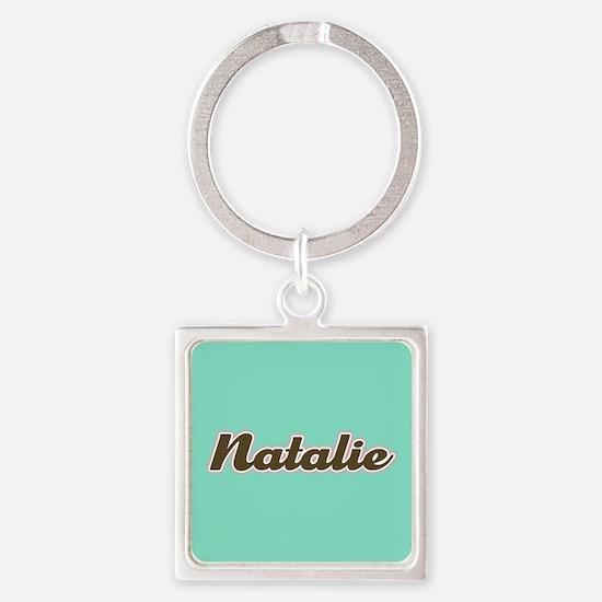 Natalie Aqua Square Keychain