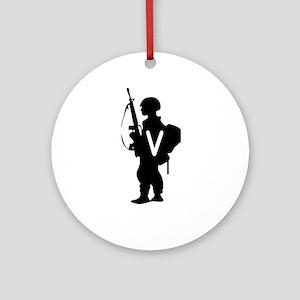 Military Monogram V Ornament (Round)