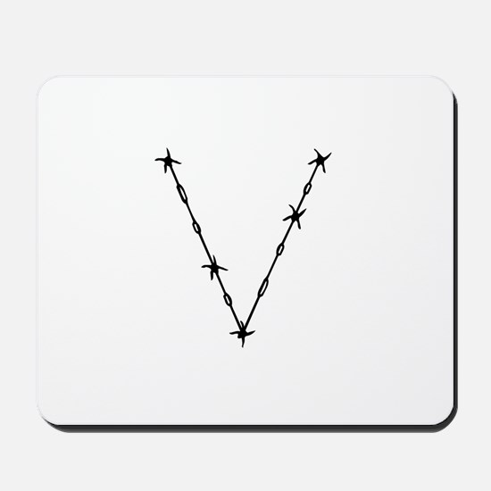 Barbed Wire Monogram V Mousepad