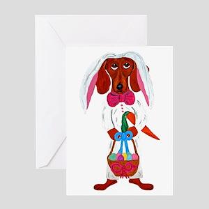 Dachshund Easter Bunny Greeting Card