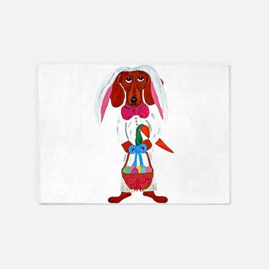 Dachshund Easter Bunny 5'x7'Area Rug