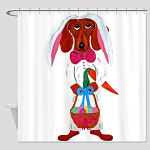 Dachshund Easter Bunny Shower Curtain