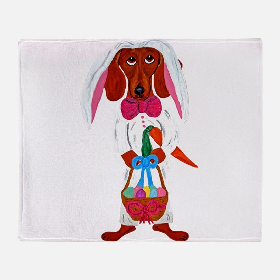 Dachshund Easter Bunny Throw Blanket