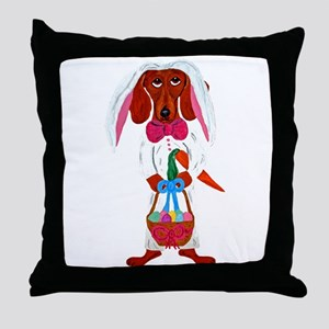 Dachshund Easter Bunny Throw Pillow