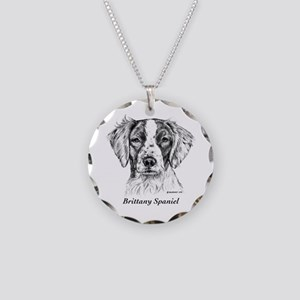 Brittany Spaniel Necklace Circle Charm