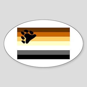 Bear Paw Flag Oval Sticker