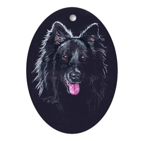 Belgian Sheepdog Black Oval Ornament