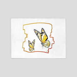 two butterflies art illustration 5'x7'Area Rug
