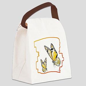two butterflies art illustration Canvas Lunch Bag