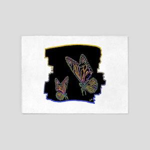 two neon butterlfies art illustration 5'x7'Area Ru
