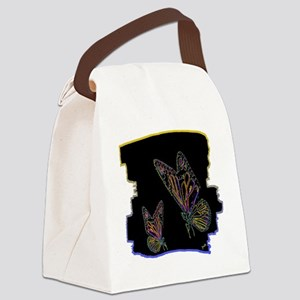 two neon butterlfies art illustration Canvas Lunch