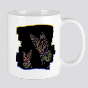 two neon butterlfies art illustration Mug