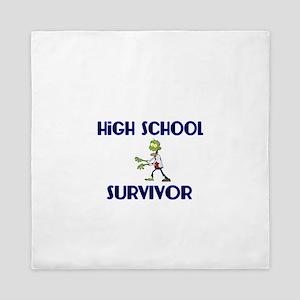 High School Survivor-Zombie-blue Queen Duvet
