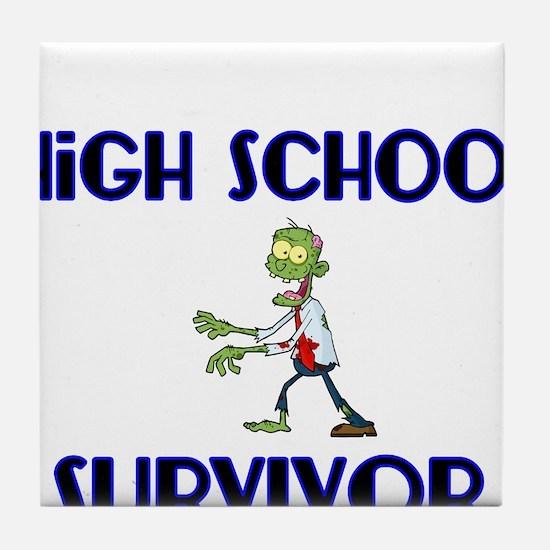 High School Survivor-Zombie-blue Tile Coaster