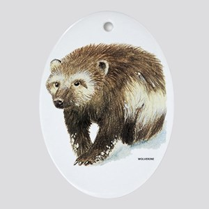 Wolverine Animal Ornament (Oval)