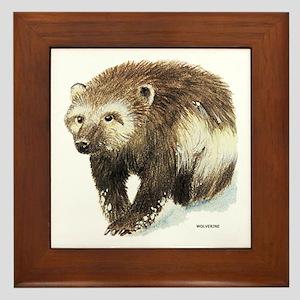 Wolverine Animal Framed Tile