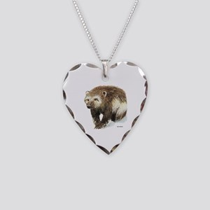 Wolverine Animal Necklace Heart Charm