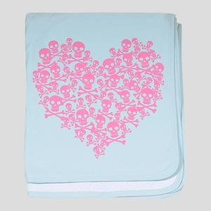 Pink Skull Heart baby blanket