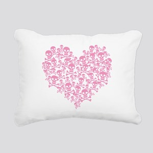 Pink Skull Heart Rectangular Canvas Pillow