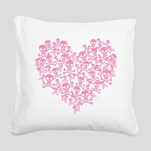 Pink Skull Heart Square Canvas Pillow