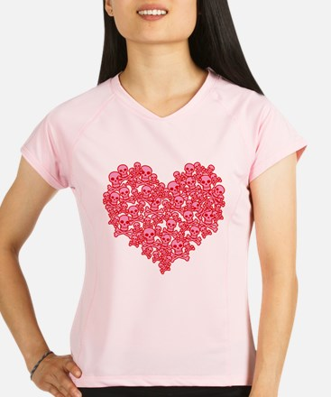 Pink Red Skull Heart Performance Dry T-Shirt