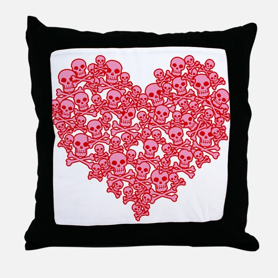 Pink Red Skull Heart Throw Pillow